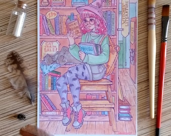 Bookstore witch A5 print watercolor illustration