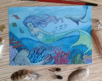 Mermaid A5 print watercolor illustration