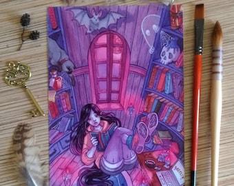 Vampires library A5 print watercolor illustration