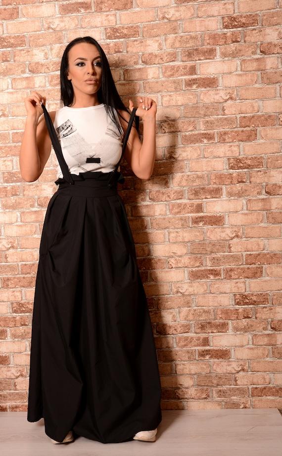 Black Suspender Maxi Dress