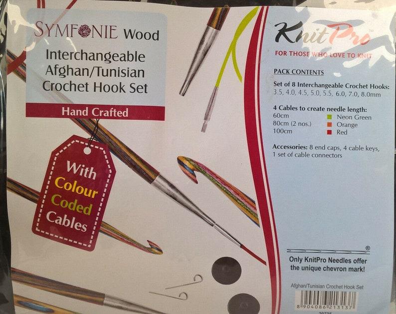 Interchangeable 20735 KnitPro Crochet Needle Set Afghan Tunisian Symfonie Wood