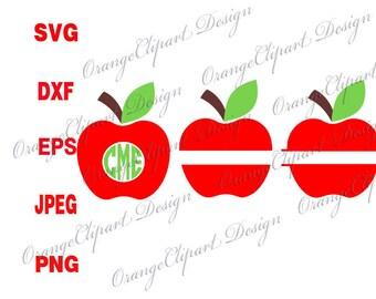 Apple SVG, Apple monogram Svg, Apple Split SVG, Silhouette Cut Files, Cricut Cut Files, Svg Files