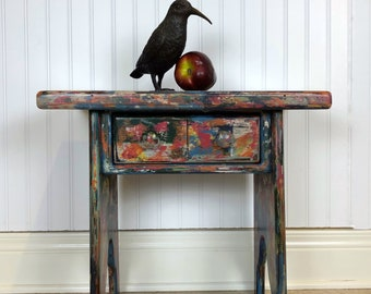 Bohemian Table, Solid Pine Hand Painted Coastal Accent Table, Multicolored  Industrial Boho