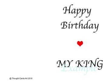 Happy Birthday My King | Husband Birthday Card | Boyfriend Birthday Card | Love Card