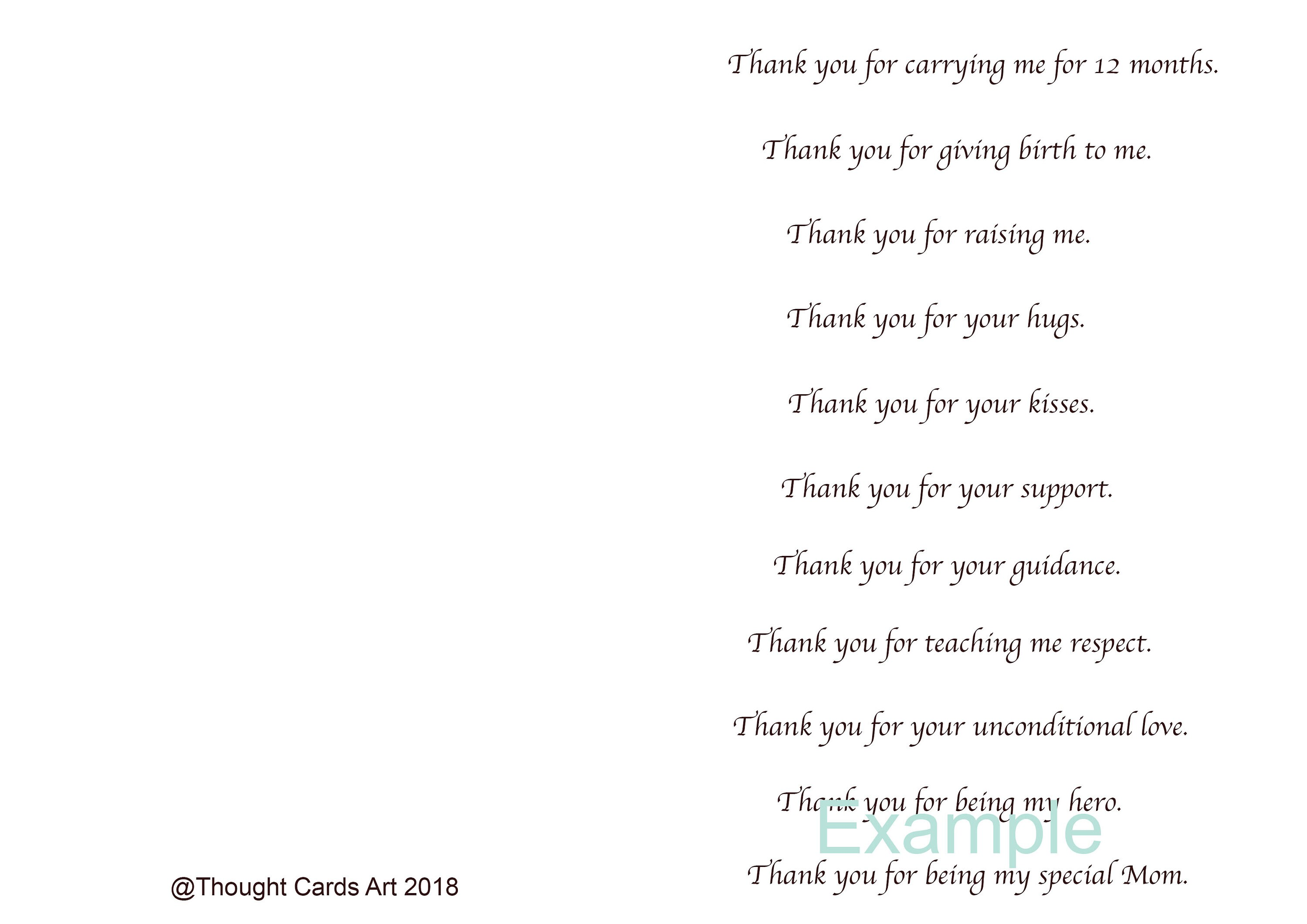 Thank You Card Mom Mothers Day Card Mom Birthday Card Etsy