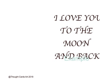 Love You To The Moon And Back | Greeting Card | Love Card | Digital Download