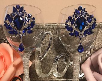 Blue Illumination Wine Glasses