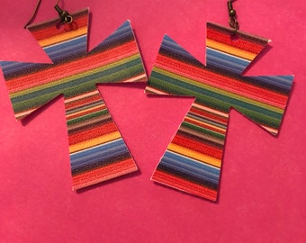 Serape print cross earrings