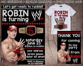 Wrestling Birthday Invitation, Wrestling Invitation, Wrestling Iron On  Transfer, WWE Wrestling Party, WWE Invitation Party, WWE Birthday