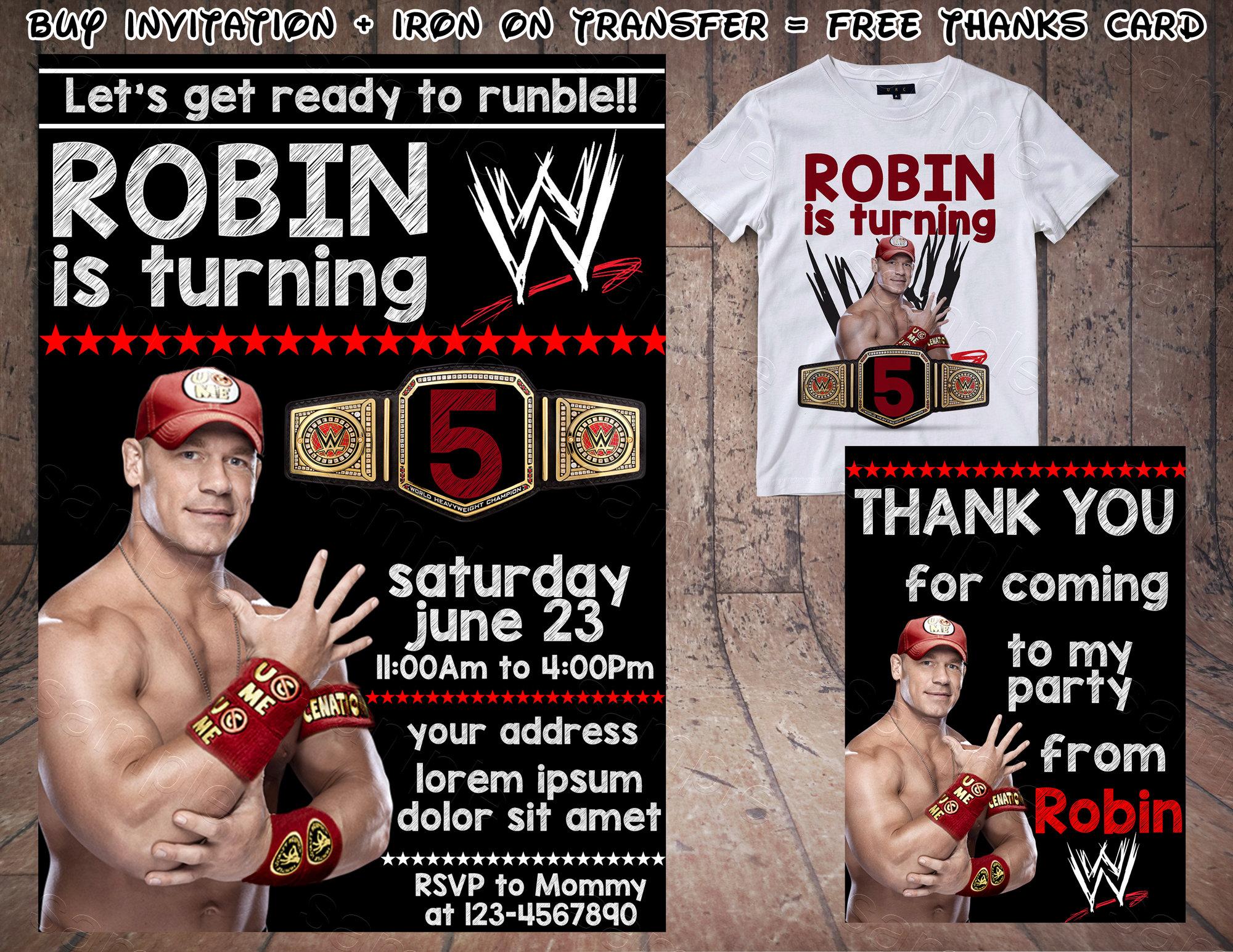 Wrestling Birthday Invitation