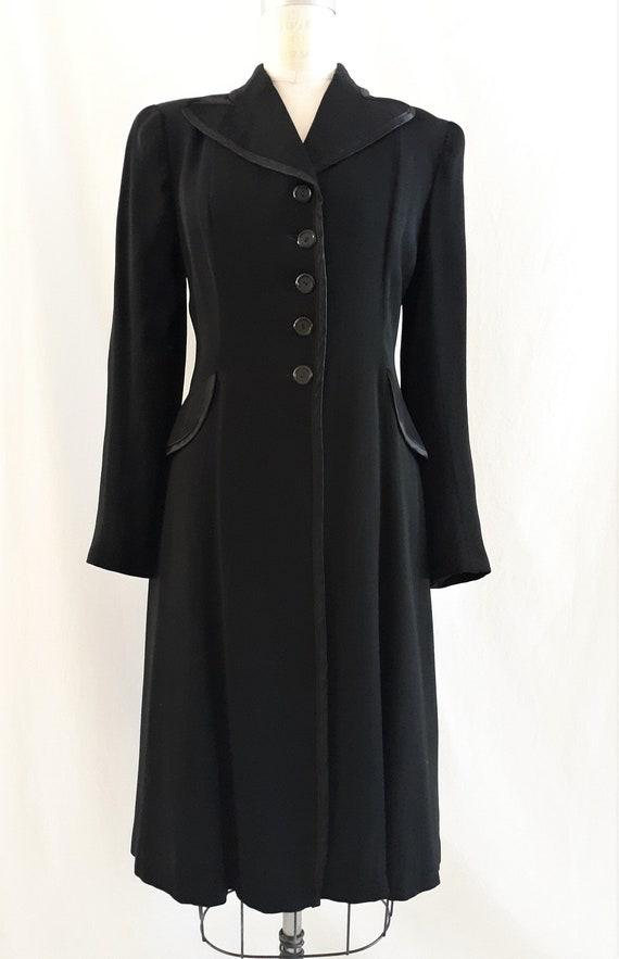 1940 coat black wool gaberdine late 1930s / early