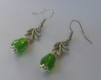 Crystal, model green branch earrings