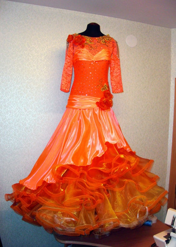 Orange Ballroom Dance Dresses Orange Ballroom Dance Gown   Etsy
