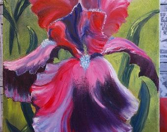 This is an original unframed flowers oil painting by Jannet Maievsky. Flower iris.