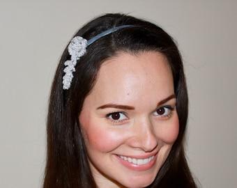 Handmade Crochet Headband or Choker Silver Glitzy Yarn Flower