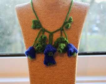 Handmade 'Blue Belle' Crochet Necklace