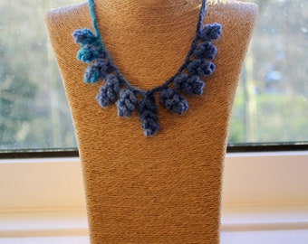 Handmade Multi-Blue Flowers Crochet Necklace