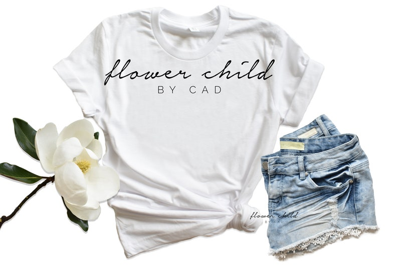Bella Canvas 3001 White Tshirt With Real Magnolia Flower Etsy