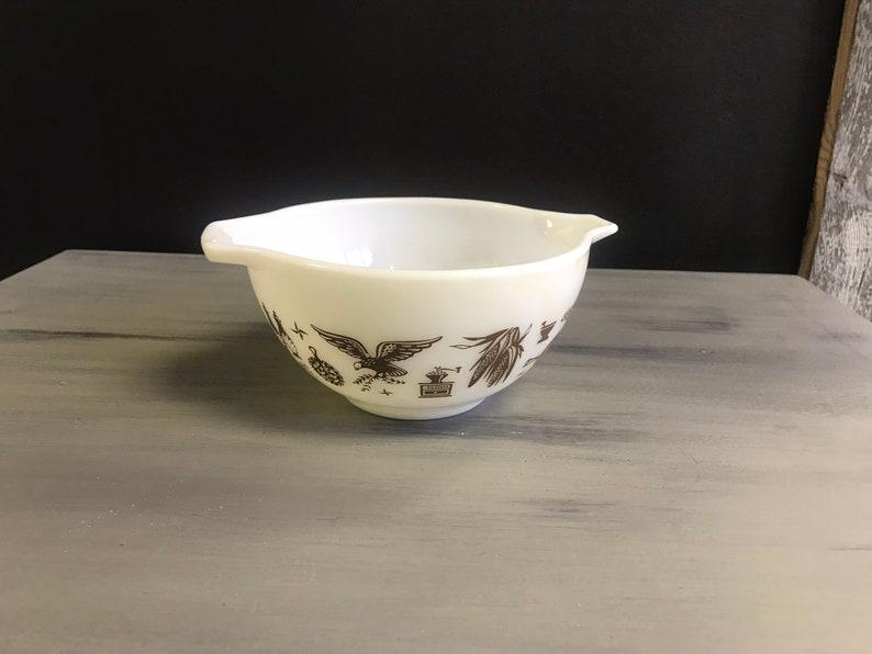 Vintage Pyrex Bowl-Early American Pattern-Eagle Lantern-Lamp-Weather Vane