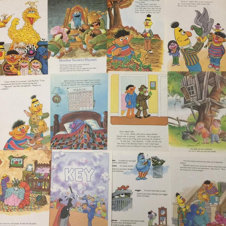 16 vintage Sesame Street book pages for crafting or framing | 1980s  children's paper pack ephemera lot for junk journals, smash books, decor