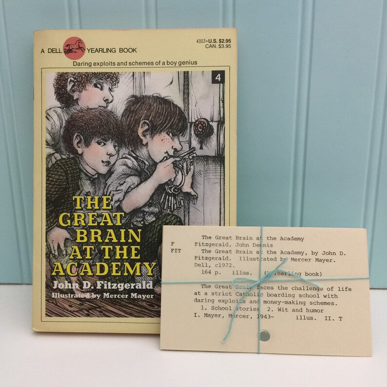 Great Brain vintage library catalog cards | 4 authentic index cards from  children's library | by John D  Fitzgerald illustrated Mercer Mayer