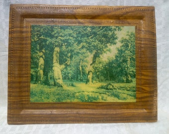 """Art passepartout with reproduction""""Oak Grove"""",Photo of Shishkin's painting""""Ancient picture painting"""",Decor for the wall,""""Soviet painting"""""""