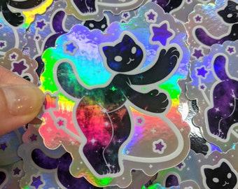Holographic Galaxy Cat vinyl sticker