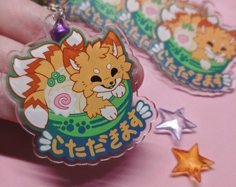 Ramen Fox key chain || Kitsune Udon acrylic keychain || key ring, acrylic charm, kawaii