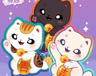 Lucky Cat vinyl sticker || Maneki Neko, good luck, fortune