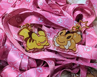 Ditto Pikachu & Ditto Eevee acrylic keychains || pokemon, cute, copy