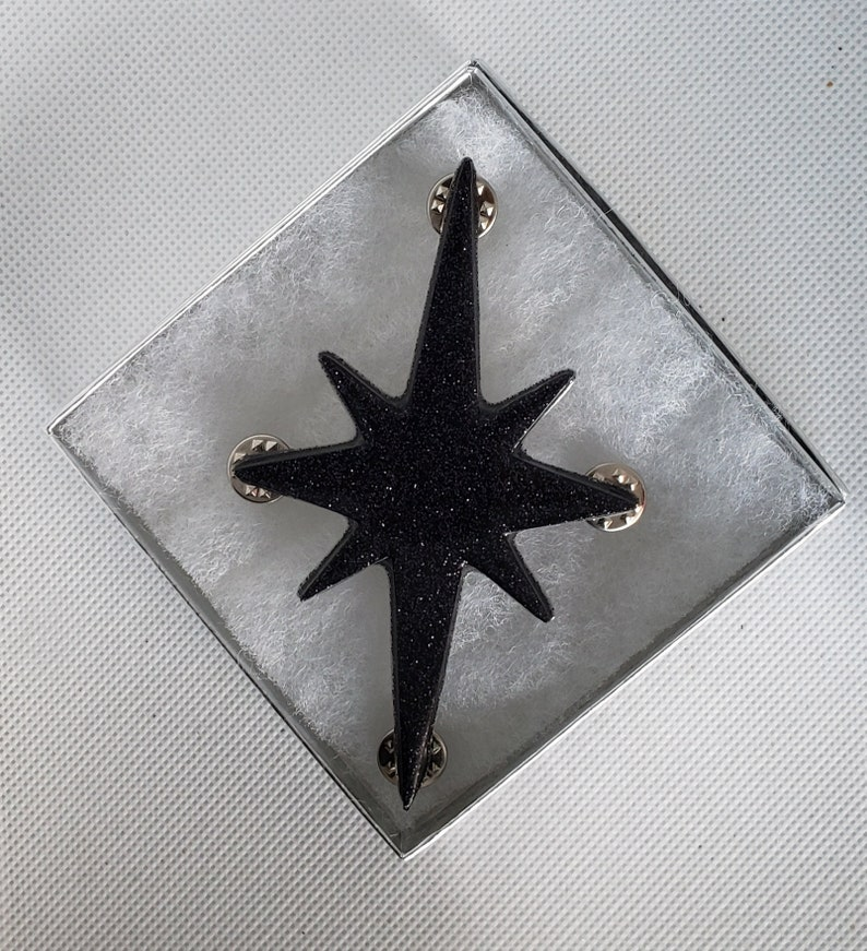 Large Atomic Star Brooch in Black