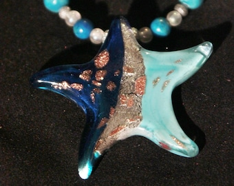Star Fish Blue and Gold Necklace