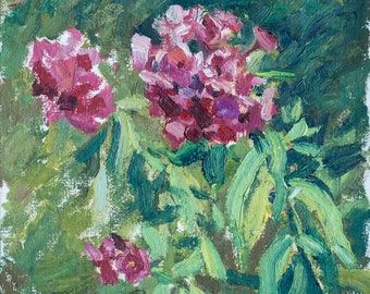 Phloxes. Floral. Flowers. Oil painting