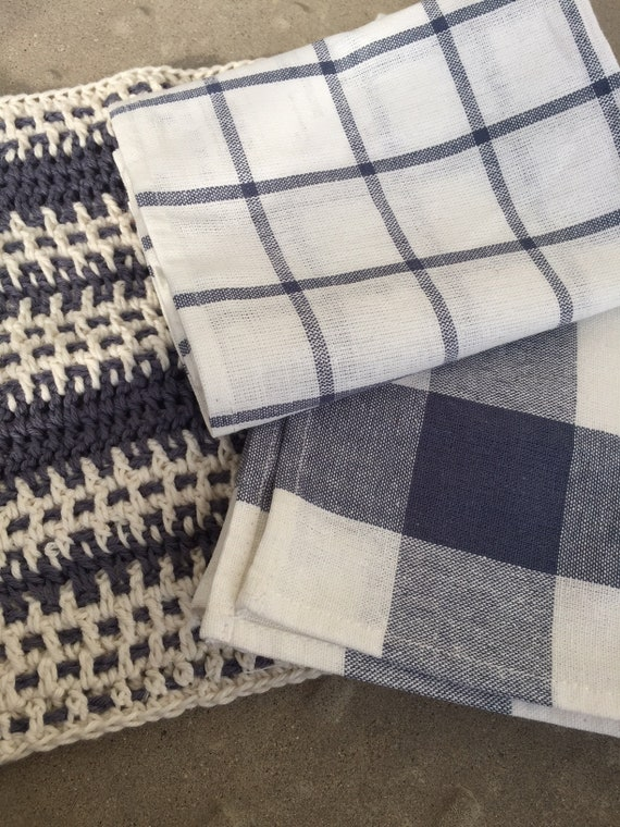 Blue and White Plaid Kitchen Towels
