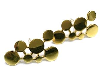 Earrings, silver, gold plated, geometric, minimal