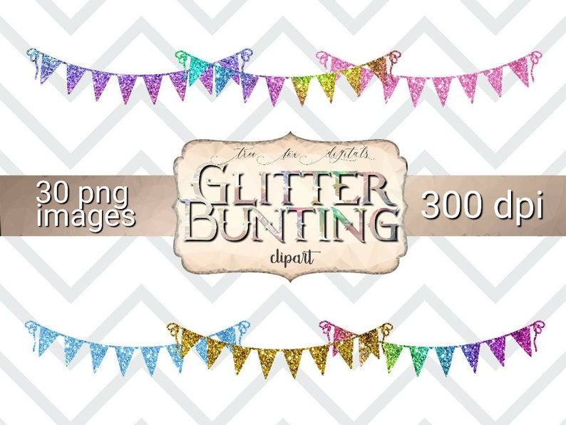 Glitter Bunting Clipart Birthday Party