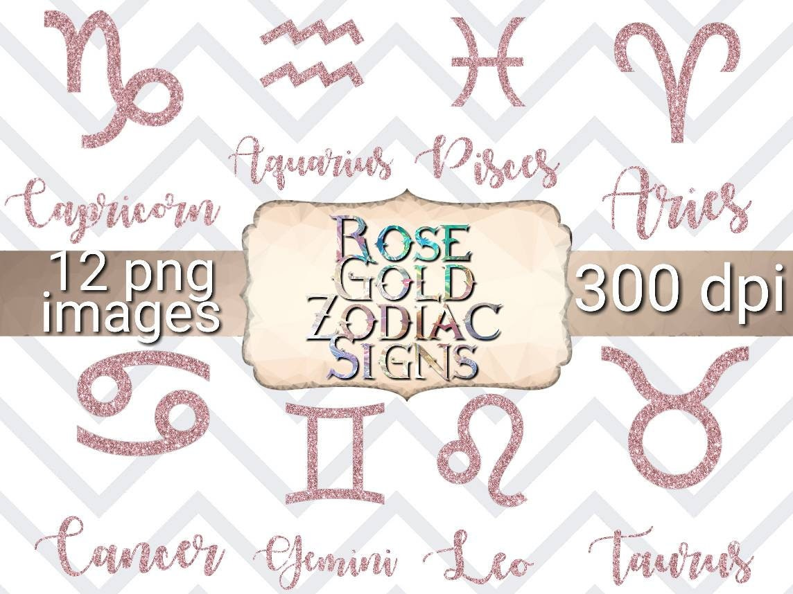 Rose gold zodiac signs clipart zodiac sign clipart | Etsy