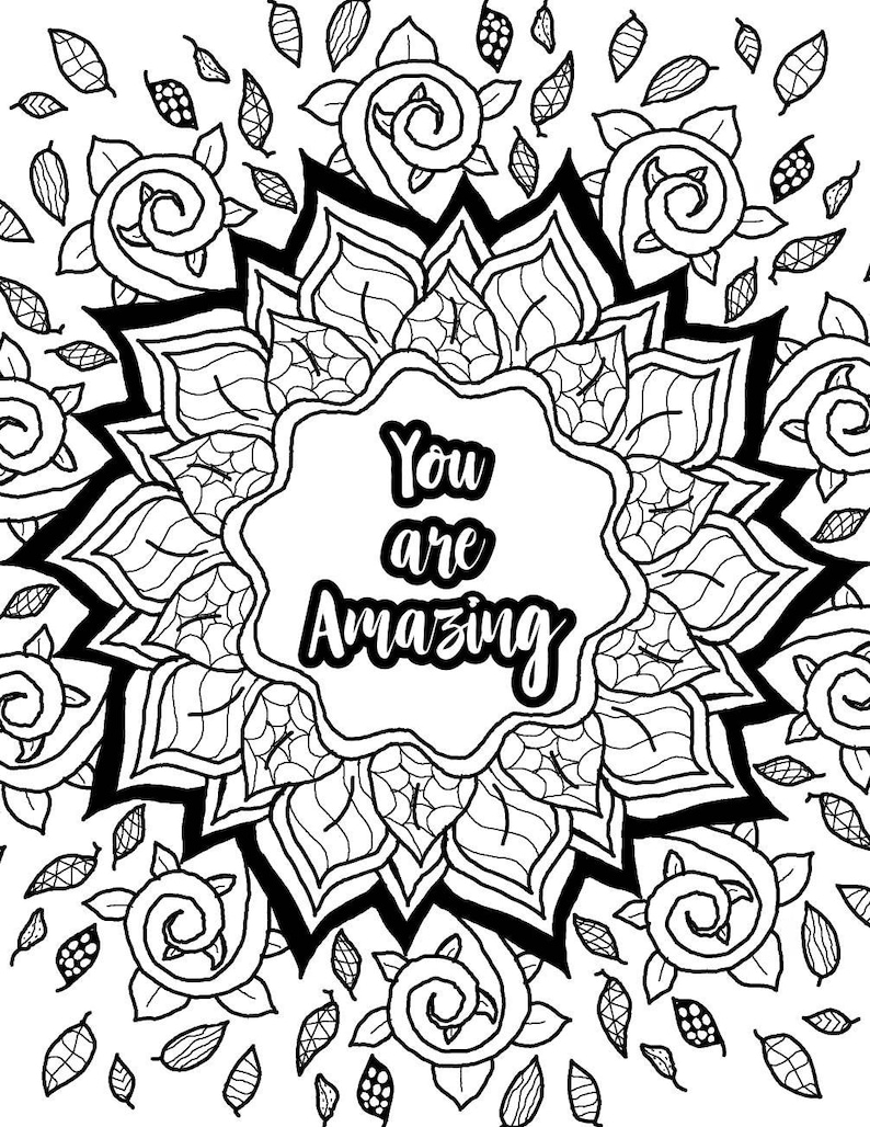This is a picture of Refreshing Free Printable Quote Coloring Pages for Adults
