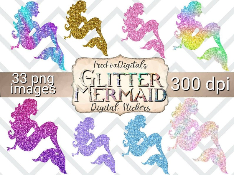 fd04d82dc Glitter Mermaid Clipart Digital stickers planner clipart | Etsy