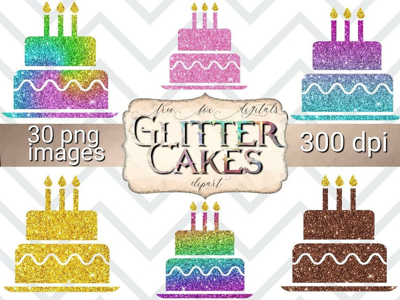 Glitter Birthday Cakes Clipart Stickers For Digital Planners