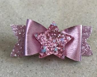 """Handmade 3"""" Girl's Pink Star Hair Bow On Clip"""