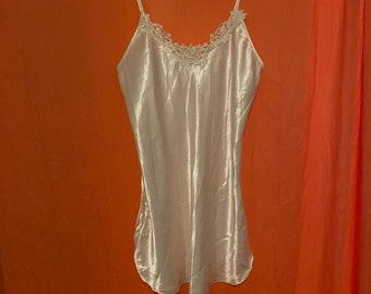 1970s Romance Du Jour White Satin Nightdress