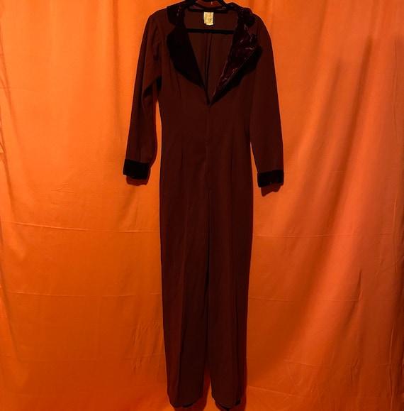 1950s Custom Made By Linda Hawkins Maroon Jumpsuit
