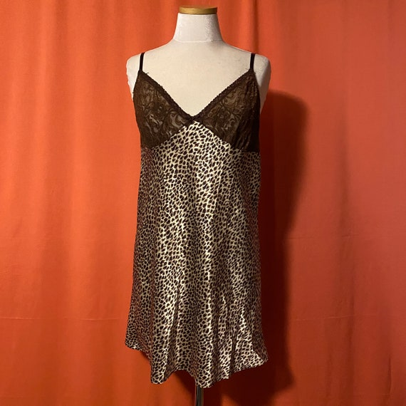 1990s Intimate Style Leopard Print Slip