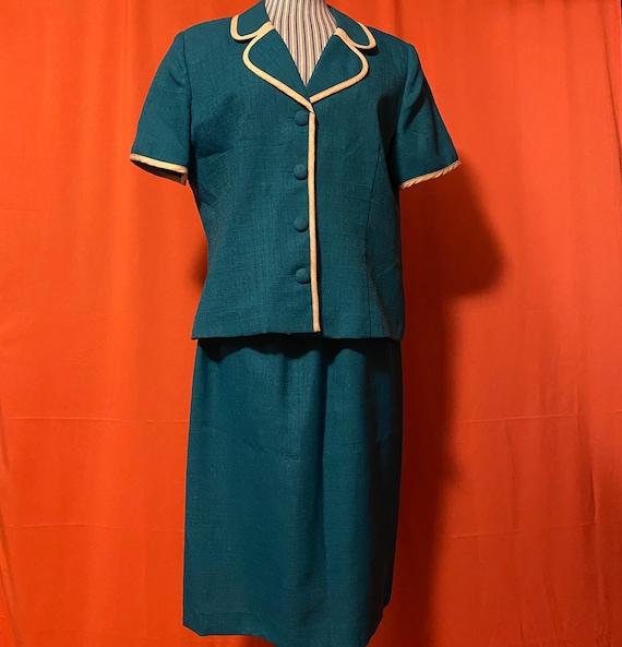 1980s Leslie Fay Petite Teal Suit
