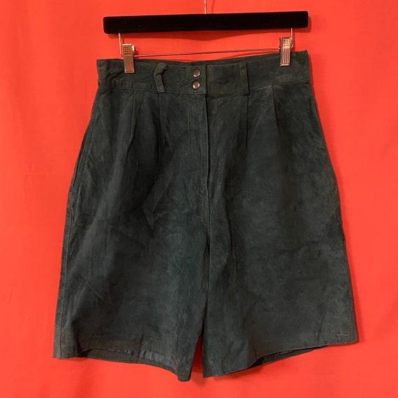 1980s David Hollis Teal Suede Shorts