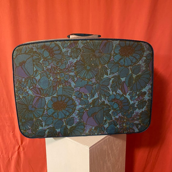 1970s Samsonite Fashionaire Teal Floral Carry-On S