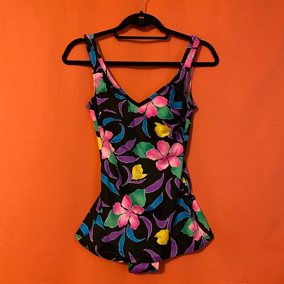 1960s Willow Bay Neon Floral Swimsuit