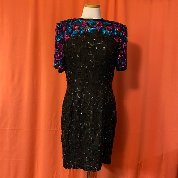 1980s Sténay Multicolor Sequin Dress