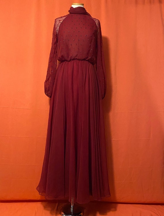 1950s Victoria Royal Ltd. Red Beaded Top Gown